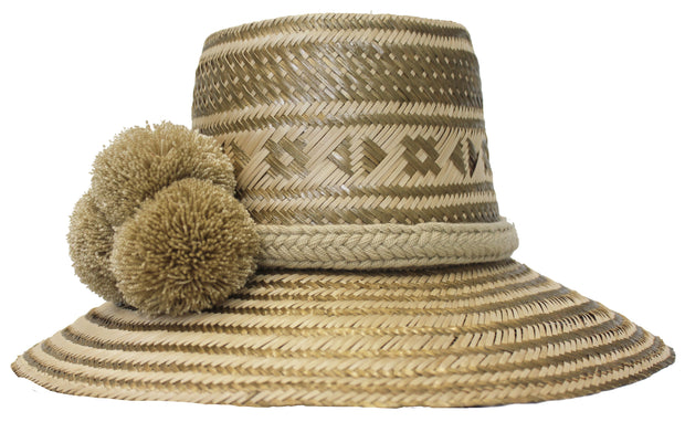 Beau & Ro Hat Wayuu Pom Pom Hat | Natural with Gold
