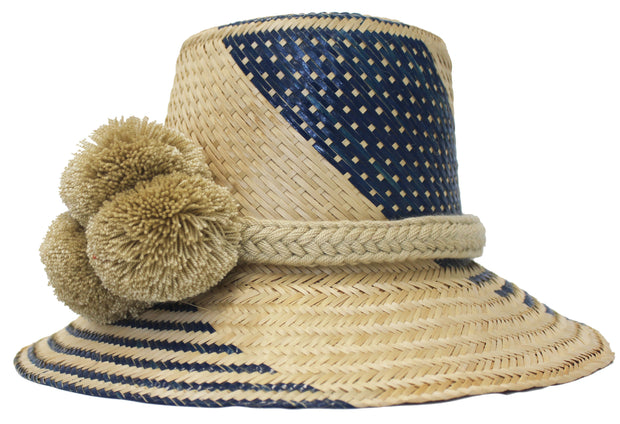 Beau & Ro Hat Wayuu Pom Pom Hat | Natural with Navy