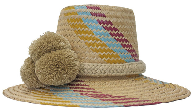 Beau & Ro Hat Wayuu Pom Pom Hat | Natural with Pink, Blue & Yellow