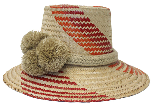 Beau & Ro Hat Wayuu Pom Pom Hat | Natural with Red & Orange