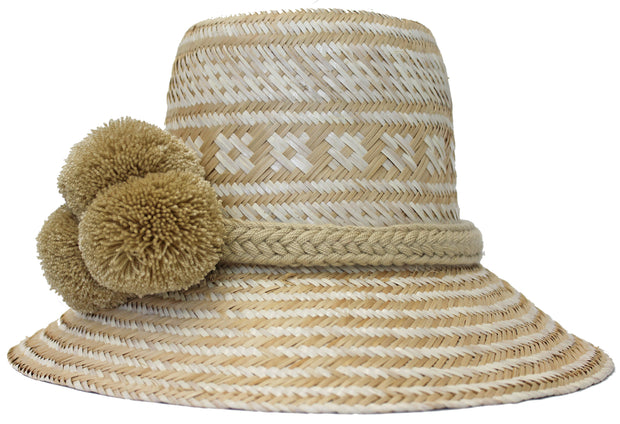 Beau & Ro Hat Wayuu Pom Pom Hat | Natural with White