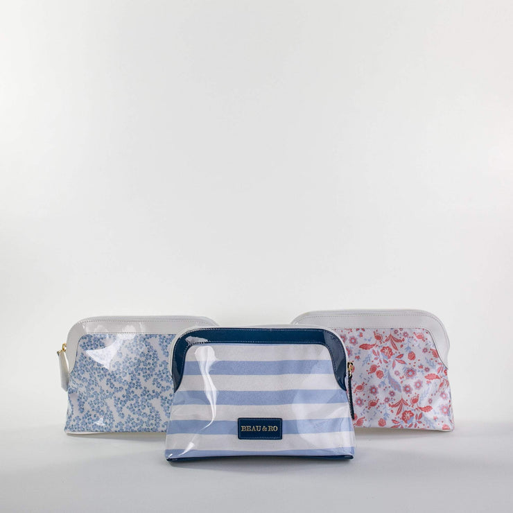 Beau & Ro Makeup Bag Beau Soleil Makeup Bag | Blue Tiny Dot Floral