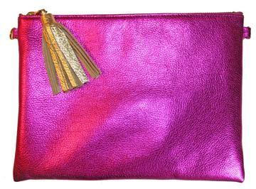 Beau & Ro Sample SAMPLE | The Sconset Clutch + Crossbody Bag in Fuchsia Metallic