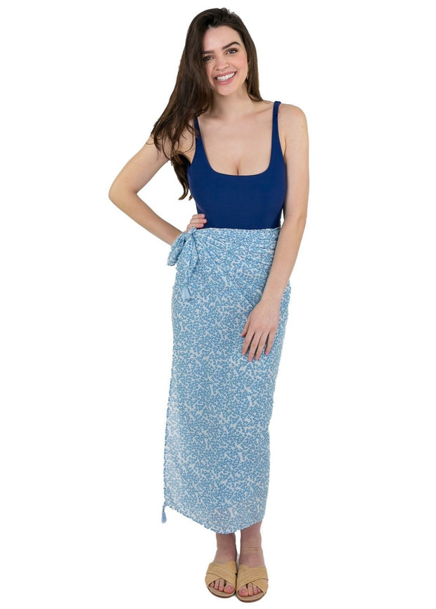 Beau & Ro Sarong The Sarong | Blue Tiny Dot Floral