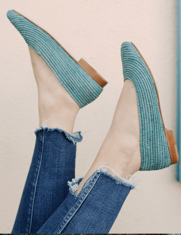 Beau & Ro Shoes The Raffia Flat | Ballet - Chambray
