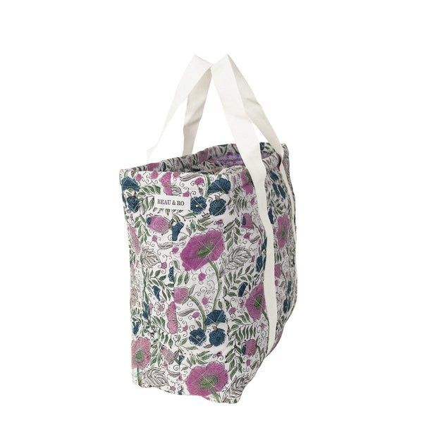 Beau & Ro Tote Blockprint Beach Tote | Purple & Green Floral