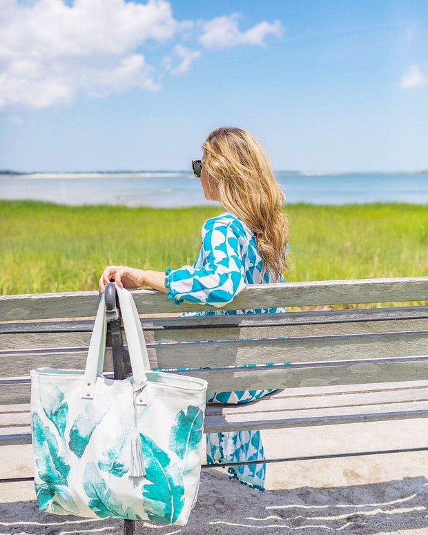 Beau & Ro Tote Palm Meredith Hanson Canvas Beach Tote Collab | Palm