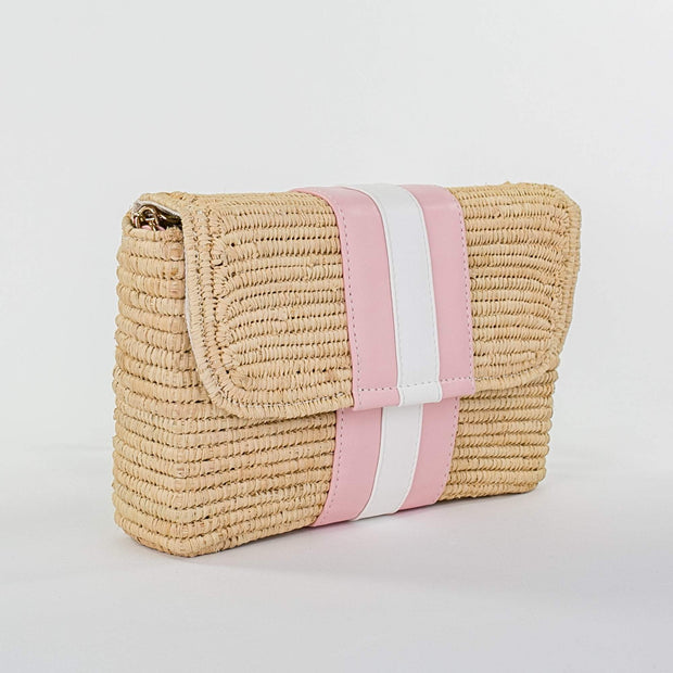 Beau & Ro Woven The Maroc Clutch |  Natural + Pink