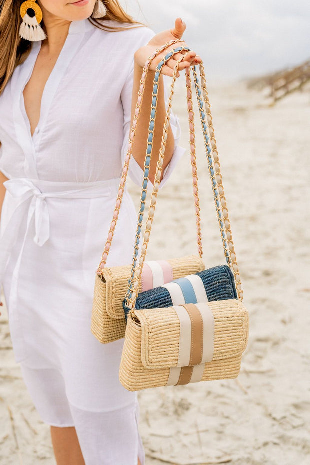 Beau & Ro Woven The Maroc Clutch |  Navy