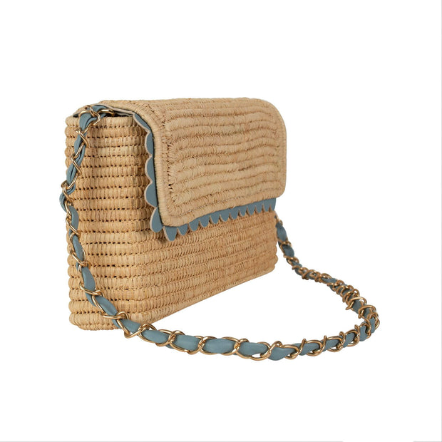 Beau & Ro Woven The Maroc Scallop Clutch |  French Blue