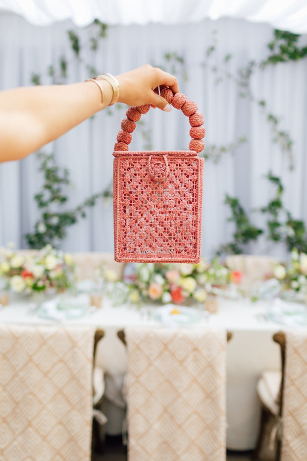Beau & Ro Woven The Palm Box Handbag | Blush