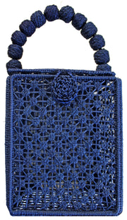 Beau & Ro Woven The Palm Box Handbag | Navy