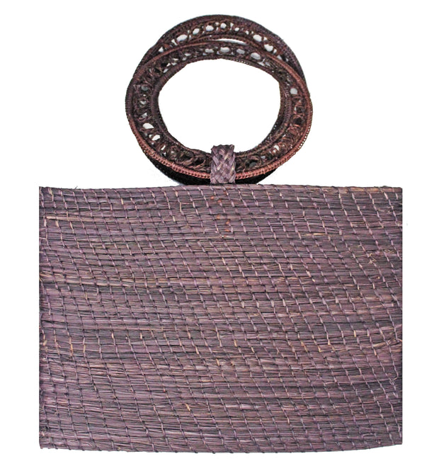 Beau & Ro Woven The Palm Bucket Tote | Maroon