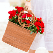 Beau & Ro Woven The Palm Bucket Tote | Red