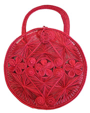 Beau & Ro Woven The Palm Caracoal Tote | Red