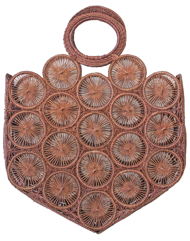 Beau & Ro Woven The Palm Mini Circles Tote | Brown