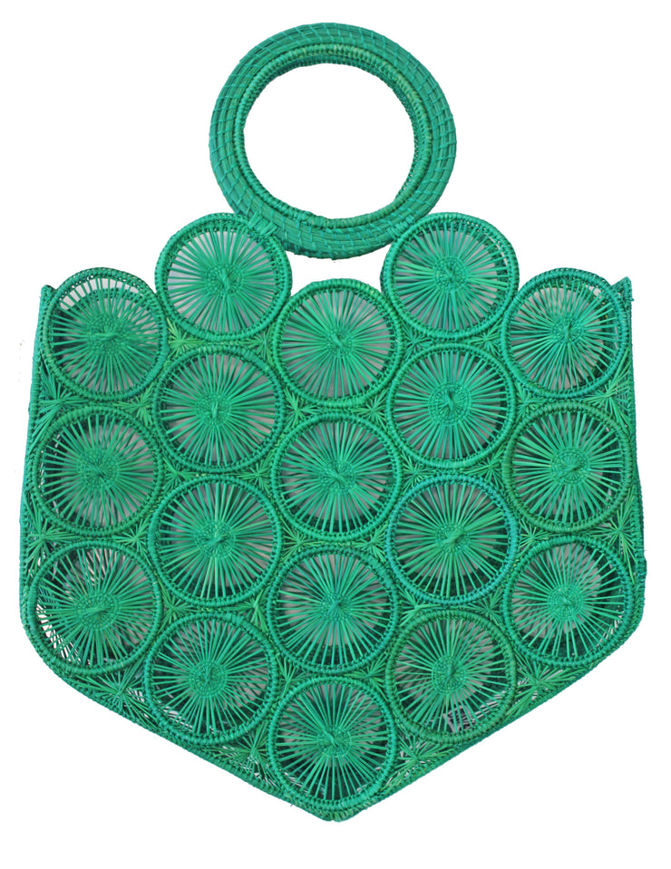Beau & Ro Woven The Palm Mini Circles Tote | Green