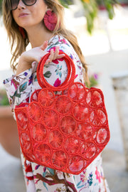 Beau & Ro Woven The Palm Mini Circles Tote | Red