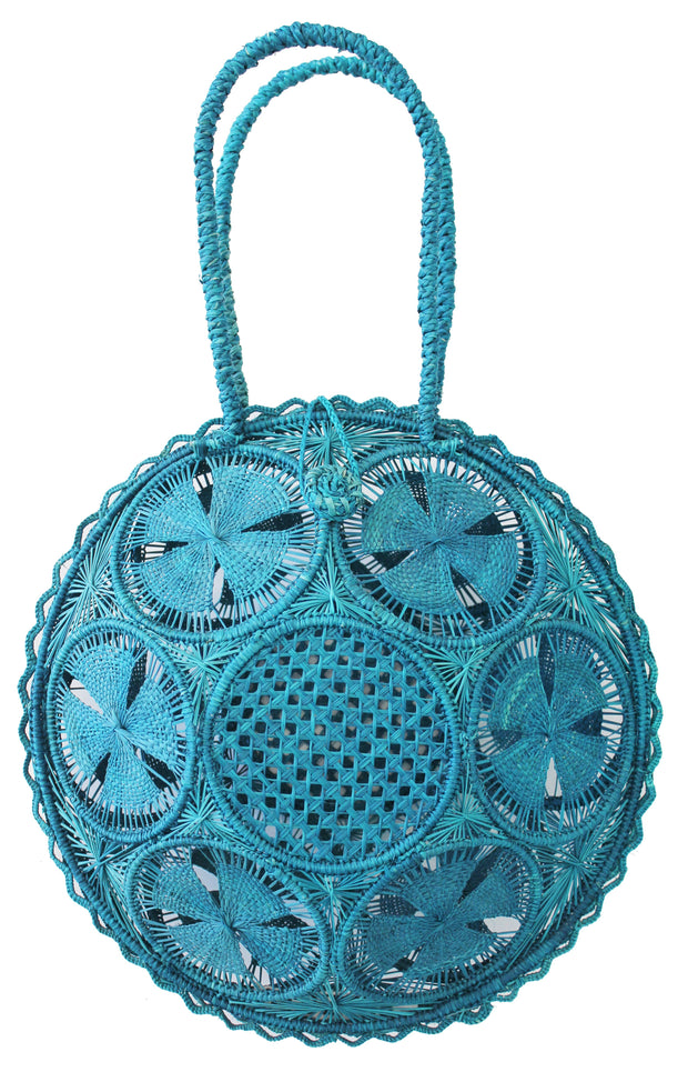 Beau & Ro Woven The Palm Panera Tote | Turquoise