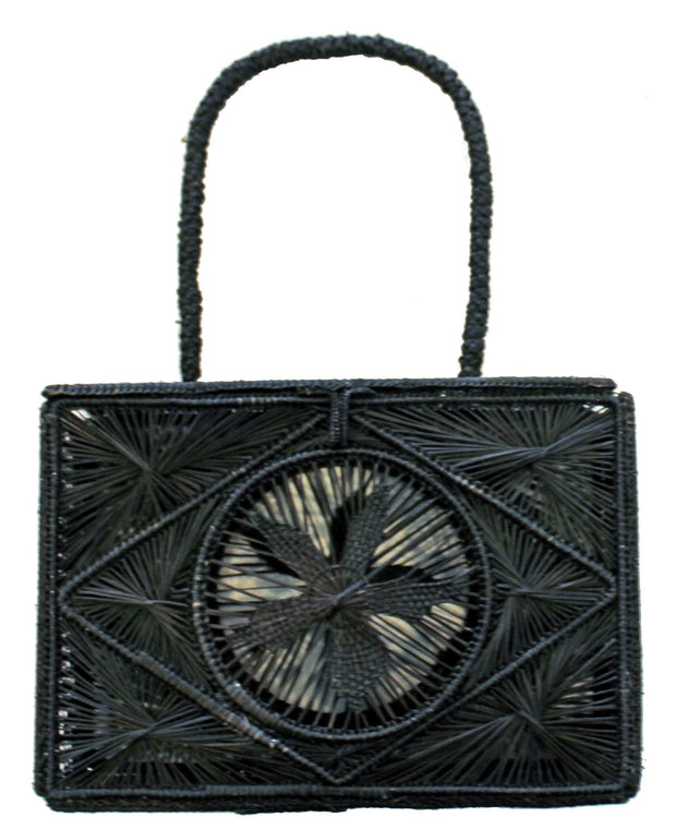 Beau & Ro Woven The Palm Rectangle Handbag | Black