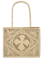 Beau & Ro Woven The Palm Rectangle Handbag | Natural