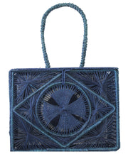 Beau & Ro Woven The Palm Rectangle Handbag | Navy