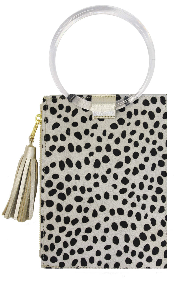 Beau & Ro Wristlet The Ring Wristlet | Baby Cheetah Pony Hair + Clear Acrylic
