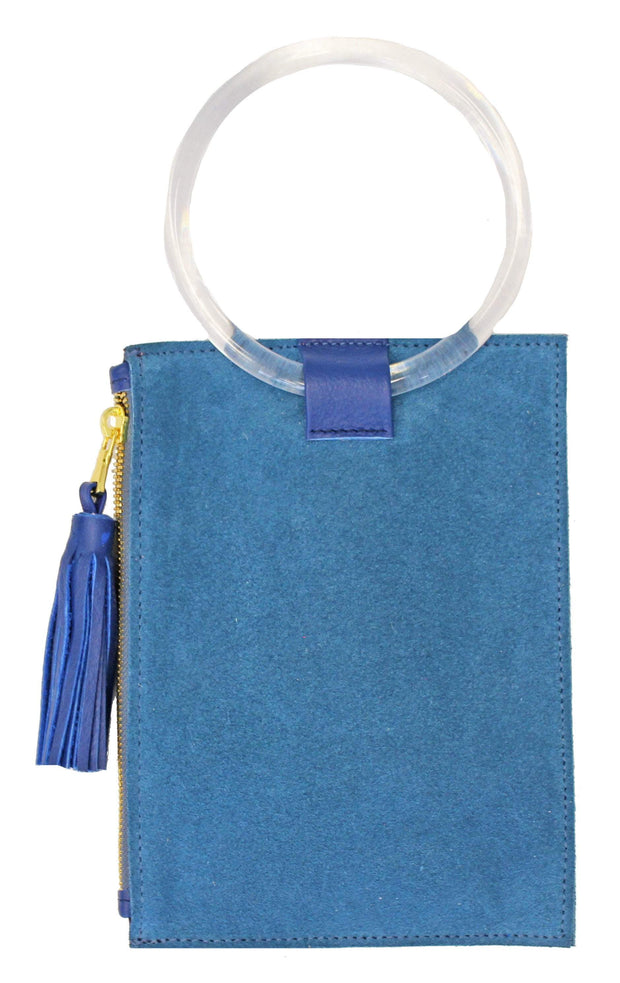 Beau & Ro Wristlet The Ring Wristlet | Blue Suede + Clear Acrylic