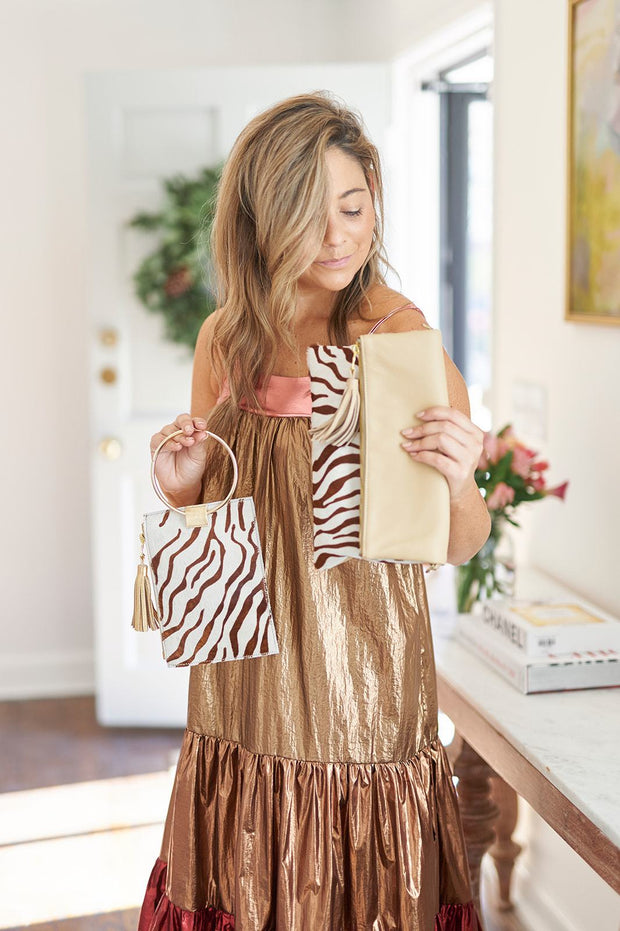 Beau & Ro Wristlet The Ring Wristlet | Brown Zebra Pony Hair