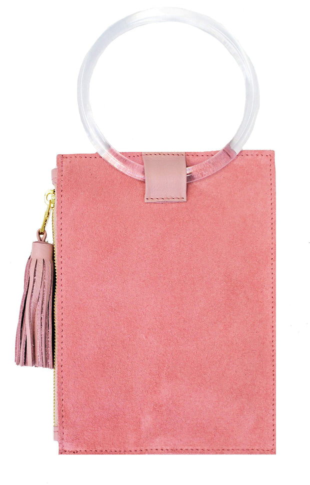 Beau & Ro Wristlet The Ring Wristlet | Pink Suede + Clear Acrylic