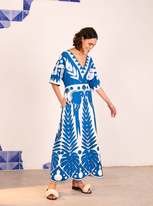 Farm Rio Apparel Farm Rio | Blue Patchwork Embroidered Dress
