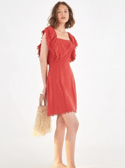Farm Rio Apparel Farm Rio | Cherry Red Linen Mini Dress