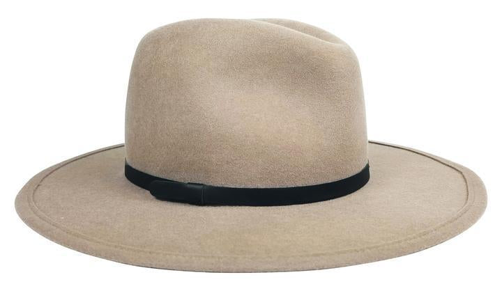 Hat Attack Hat Hat Attack | Chelsea in Beige with Black Leather Trim