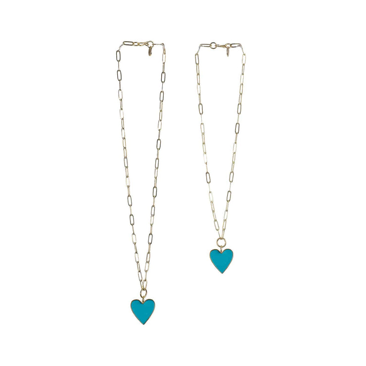 Holst + Lee Jewelry Holst + Lee | Paper Clip Heart Necklace in Turquoise