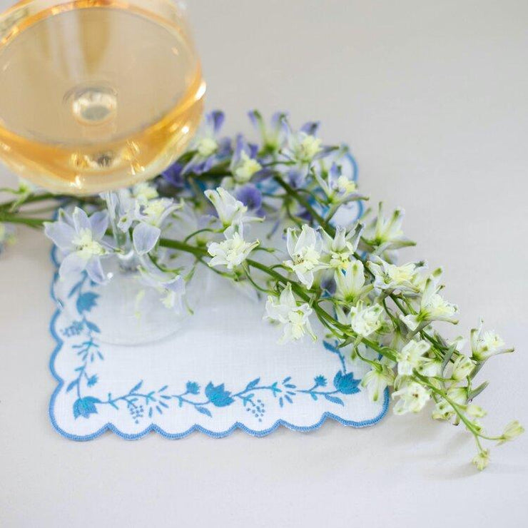 Lettermade Cocktail Napkin Lettermade | Blue Floral Cocktail Napkins