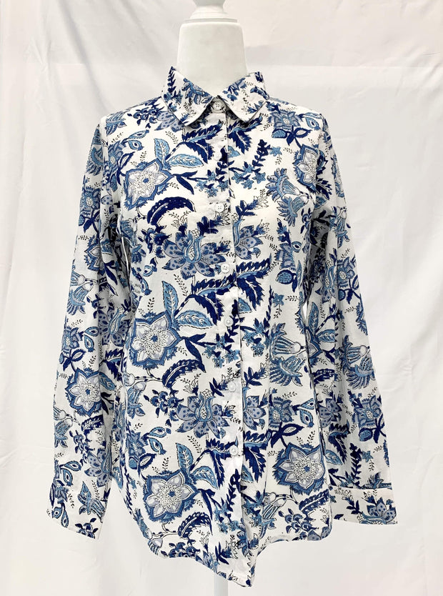 Madison Mathews Apparel Madison Mathews | Karen Top in Blue Floral