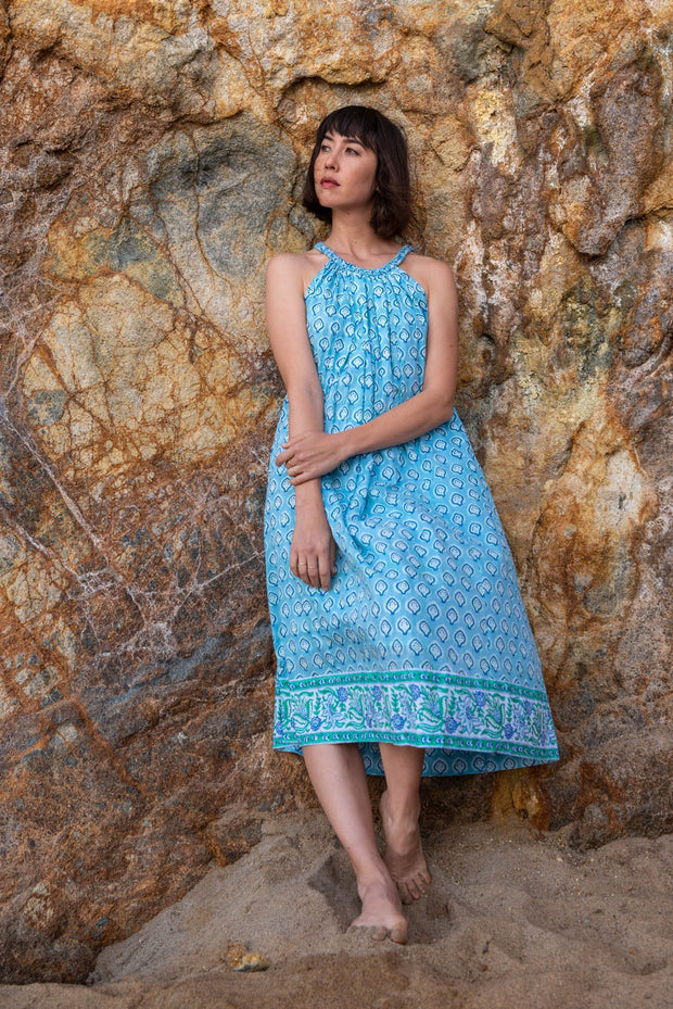 SZ Blockprints Apparel SZ Blockprints | Kath Dress in Bagru Shale Blue