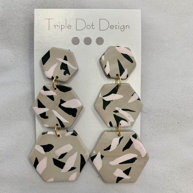 Triple Dot Design Jewelry Triple Dot Design | Black & Pink Hexagon