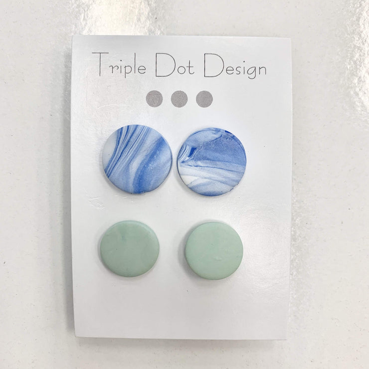 Triple Dot Design Jewelry Triple Dot Design | Blue & Green Stud 2-Pack