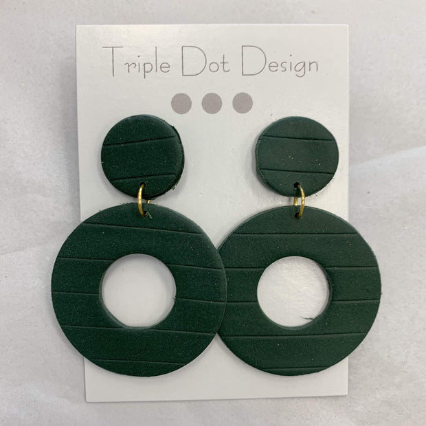 Triple Dot Design Jewelry Triple Dot Design | Forest Green Textured Circles