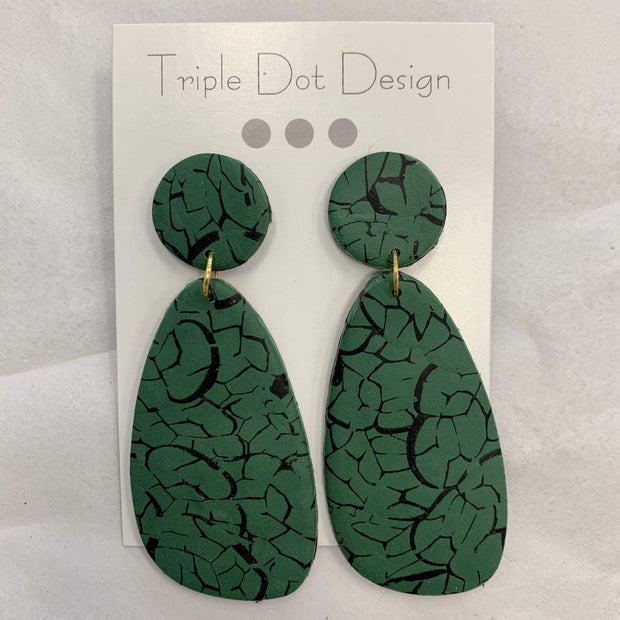 Triple Dot Design Jewelry Triple Dot Design | Green & Black Crackle Drops