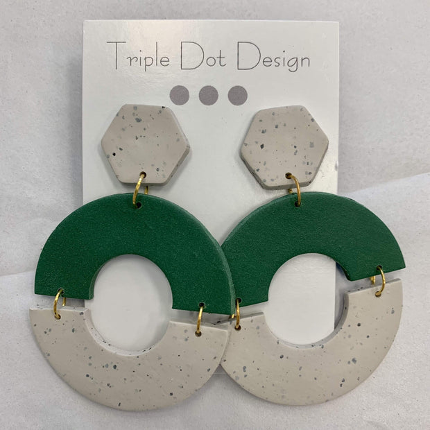 Triple Dot Design Jewelry Triple Dot Design | Green & White Half Circle Dangles