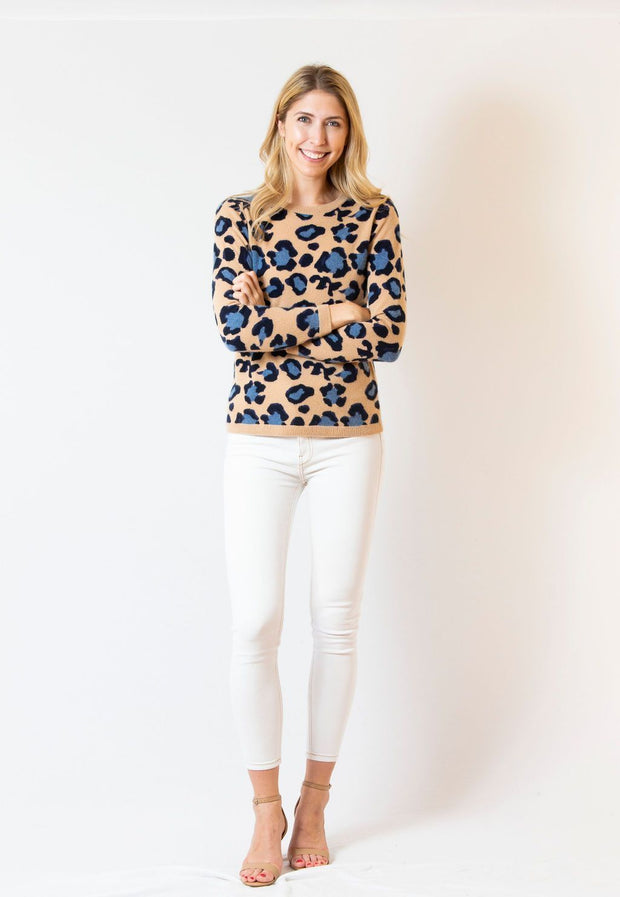 Two Bees Cashmere Apparel Two Bees Cashmere | Leopard Print Cashmere Sweater