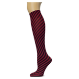 Bias Stripe on Cranberry Knee Highs