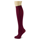 Houndstooth on Cranberry Knee Highs