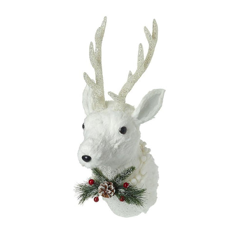White Reindeer Head With Pinecone