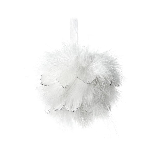 Small White Fluffy Feather Bauble