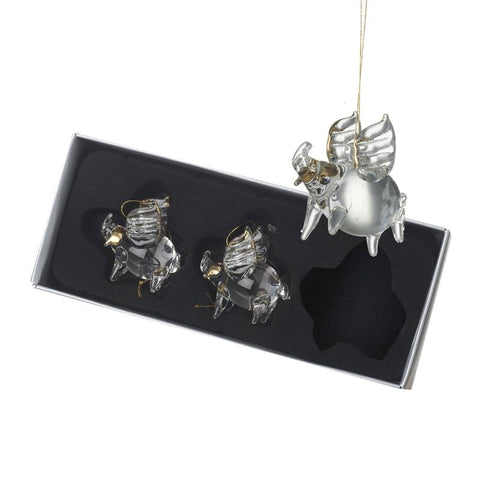 Glass Hanging Pig Decs Set Of Three