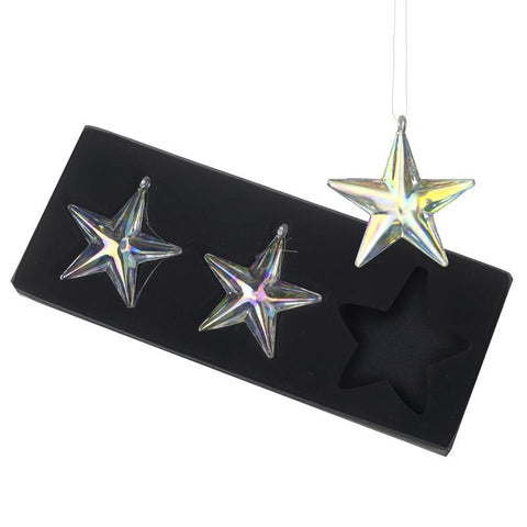 Glass Star Decs Set Of Three