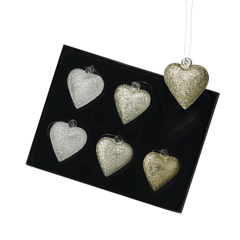 Set Of 6 Glass Hearts